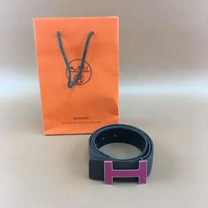 Preowned Hermès 32mm H Reversible Leather Belt